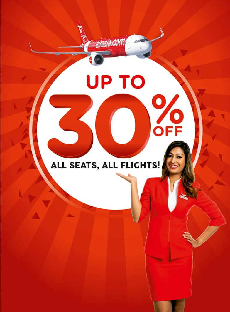 Grab up to 30% discount on all flights, seats AirAsia