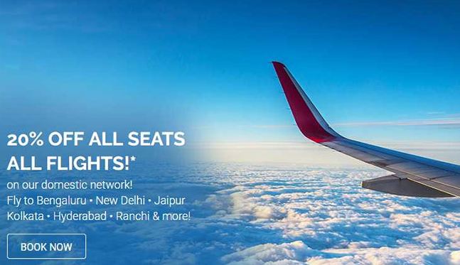 20% Discount On All Seats Of All Flights AirAsia India
