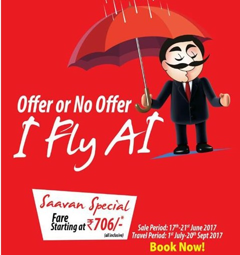 Air India Saavan Special 2017 Sale: Tickets From Rs 706