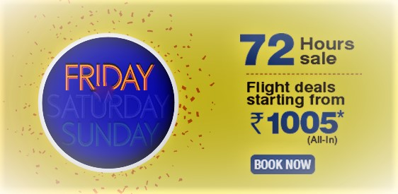 Go Air Weekend Offer 72 Hours Flight Tickets Sale Air Fare Starting from Rs 1005 in India