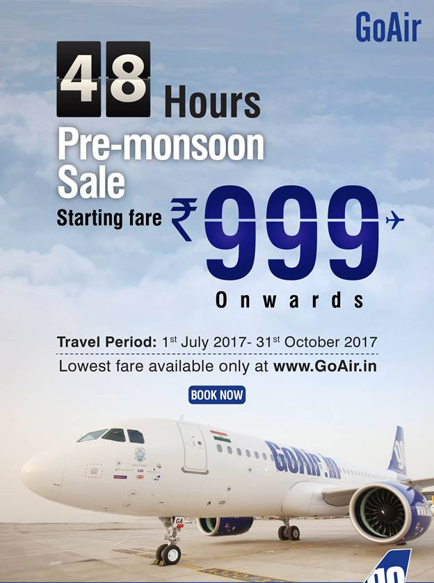 d864183c9fd2 Go Air Flights Ticket Booking Offers Pre Monsoon Rs 999
