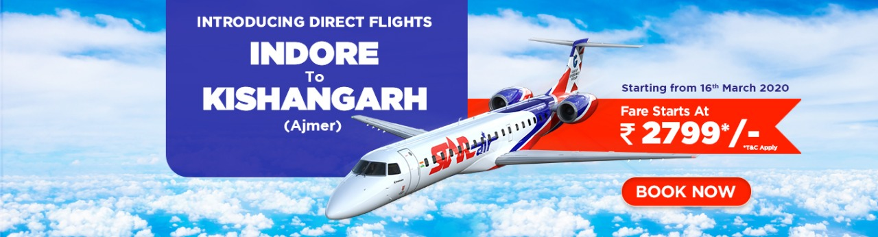 Star Air direct flight between Indore to Kishangarh