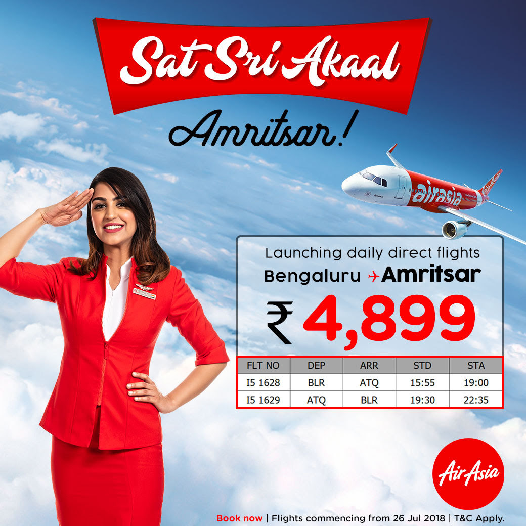 Air Asia daily direct flight from Bengaluru to Amritsar