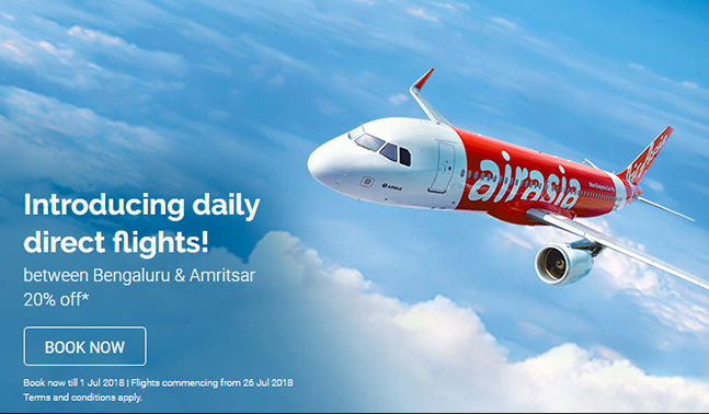 20% Discount On Flight Tickets For Select Route AirAsia India