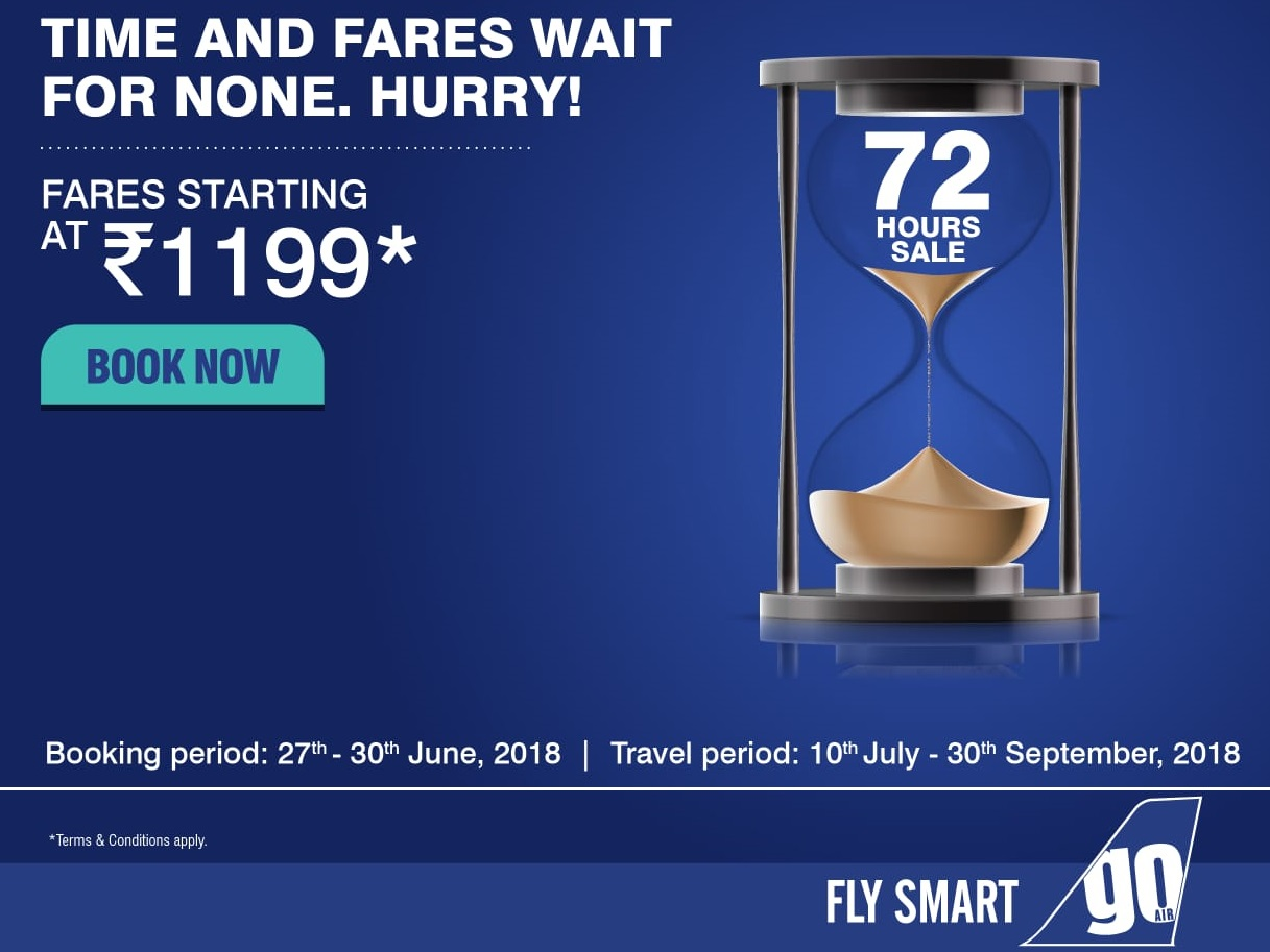 Go Air 72 hours sale